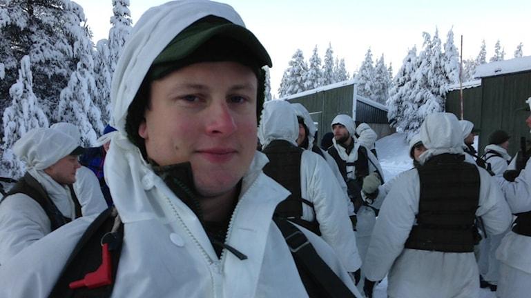 Jonas Enjebo, en av de 85 repsoldater som kallats in. Foto: Per Vallgårda/Sveriges Radio.