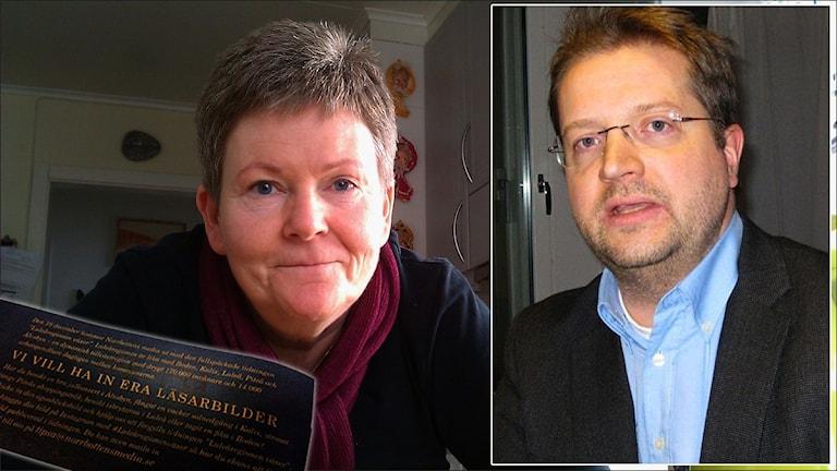 Anna Hövenmark (V) och Mats Ehnbom, Norrbottens Media och Norrbottens-Kuriren med annonsen om läsarbilder infälld. Foton: Stig-Arne Nordström och Samed Salman/Sveriges Radio. Montage: Sveriges Radio.