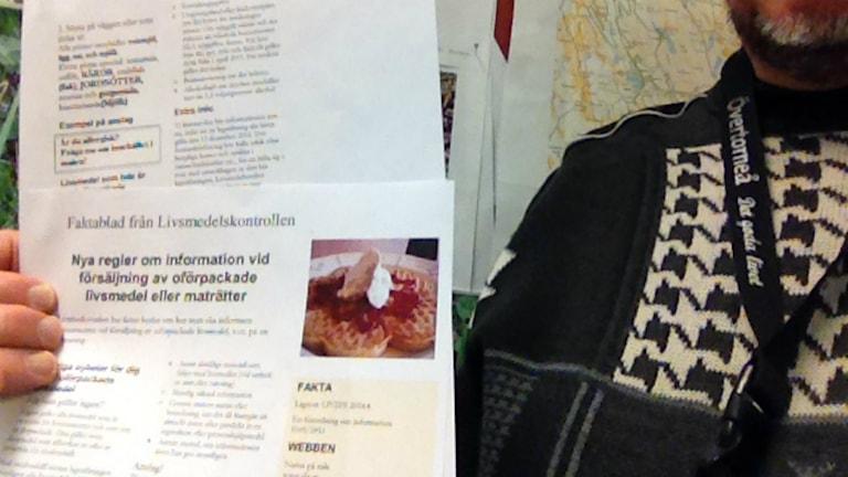 Faktablad som gick ut till alla restauranger i Övertorneå. Foto: Per Lundbäck