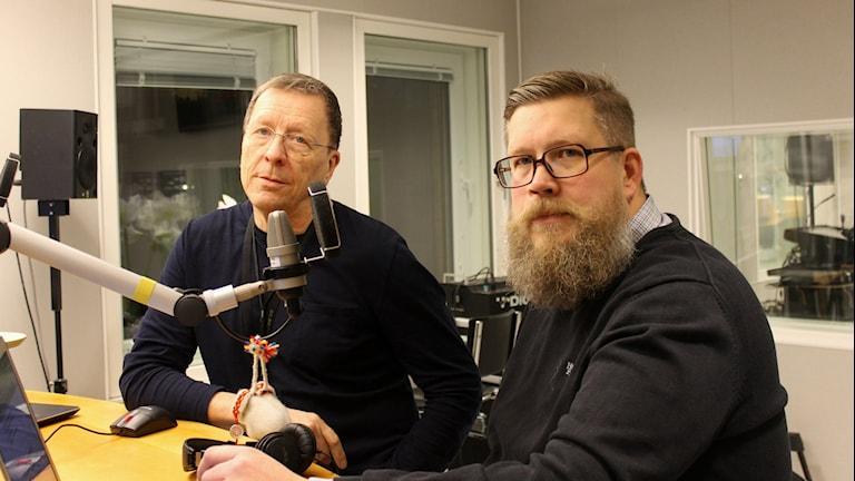 Stig-Arne Nordström och Simon Matti. Foto: Fanny Bergvall/Sveriges Radio.