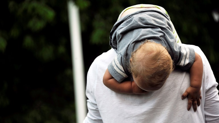Litet barn hänger på pappans rygg. Foto: Hasse Holmberg/TT