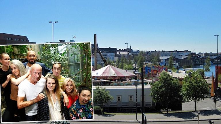 Diggiloo-artisterna 2016 infällda i vyn över tivolit i Norra hamn i Luleå. Foton: Diggiloo och Hjalmar Lindberg/Sveriges Radio.