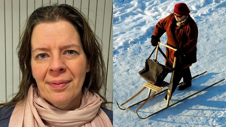 Åsa Lundmark och dam på sparkstötting. Foton: Tova Nilsson/Sveriges Radio och Lars Pehrson/TT.