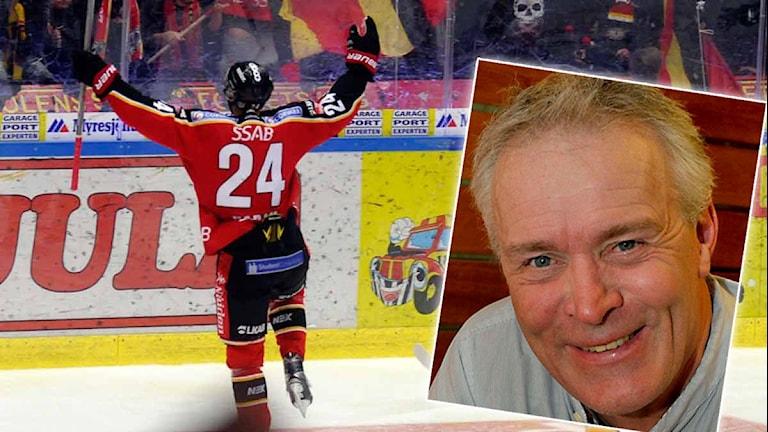 Luleå Hockeys Johan Harju jublar, infälld: P4 Norrbottens hockeyexpert Lars-Göran Niemi. Foton: Alf Lindbergh/Pressbilder.