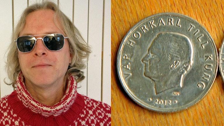 """Karl Fredrik Mattsson och hans """"horkarlsmynt"""" från 2012. Foton: Jon Hedström/Sveriges Radio och Alf Lindbergh/Pressbilder."""