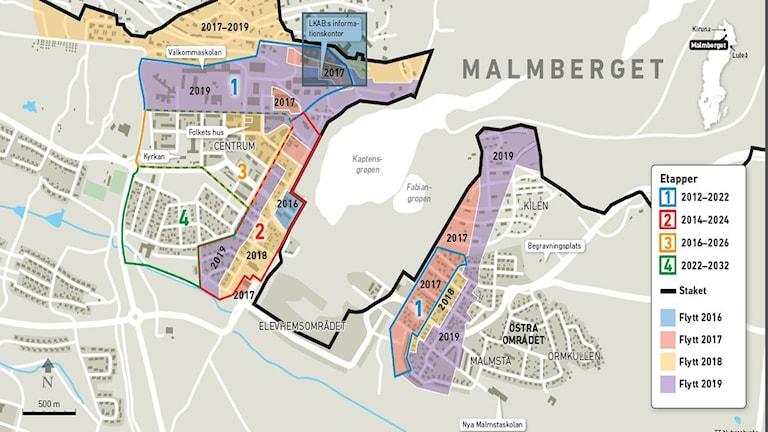 LKAB:s tidsplan för flytten av Malmberget.
