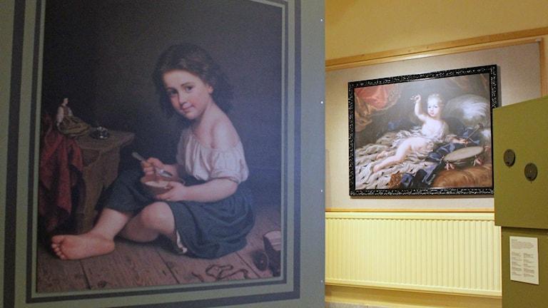Nationalmuseum har i Kiruna en vandringsutställning om porträtt från förr. Foto: Alexander Linder/ Sveriges Radio.