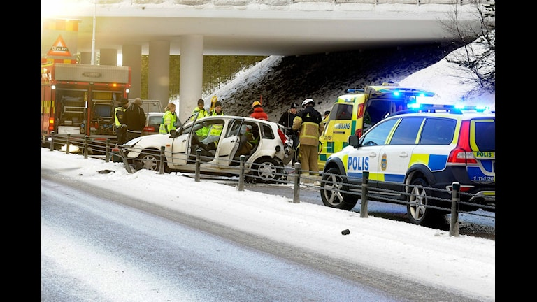 Trafikolycka på E4, i Luleå vid Storheden. Foto: Alf Lindbergh/Pressbilder