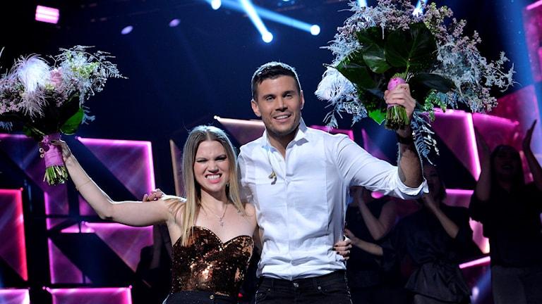 Vinnarna i den första delfinalen av melodifestivalen 2016, Ace Wilder och Robin Bengtsson.