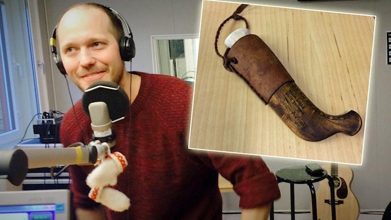 Johan Airijoki ger ut musik - på en slöjdad kniv med inbyggt usb-minne. Montage: Sveriges Radio.