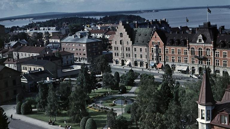 Luleå 1953. Vy över stadsparken och norra hamn. Foto: Rune Espling