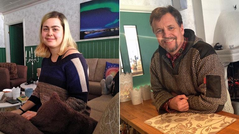 Cecilia Lodewyks från Schweiz är turist i Norrbotten och Göran Widén, delägare i Brändögruppen, i Furufjärdens gästgårds reception.