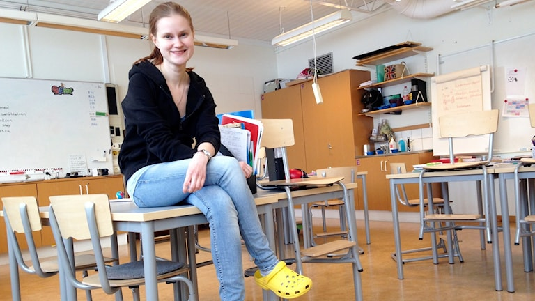 Lärarstudenten Marie Eriksson i klassrummet