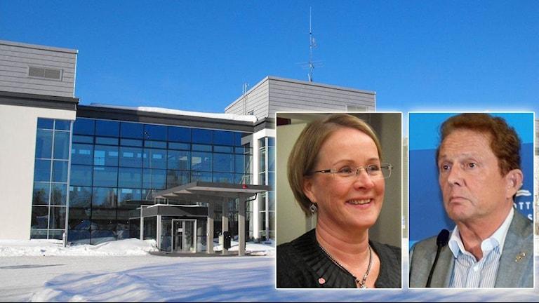 Landstingshuset i Luleå med Maria Stenberg (S) och Kenneth Backgård (NS) infällda.