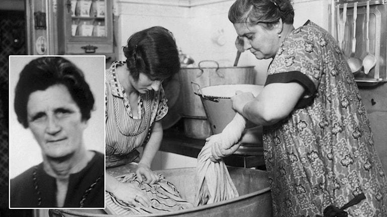 Kvinnor handtvättar med tvättbräda i balja, infälld hemmafrun Märta Bergenstråle. Montage: Sveriges Radio.