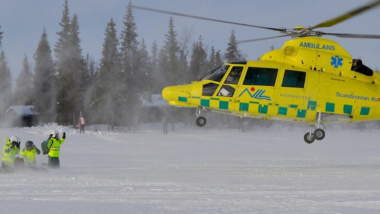 Ambulanshelikoptern i Gällivare.