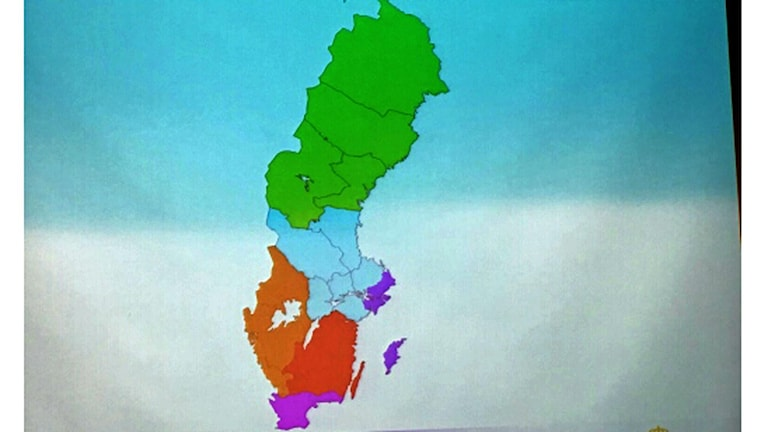 Indelningskommitténs karta över utkastet till nya regioner i Sverige.