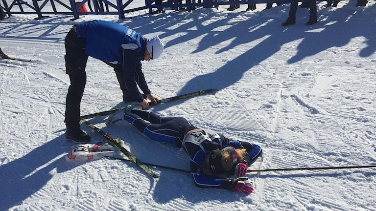 Hemmaåkaren Olivia Norberg, Sävast Ski Team vann D15, 5 km klassiskt vid ungdoms-SM i Boden.