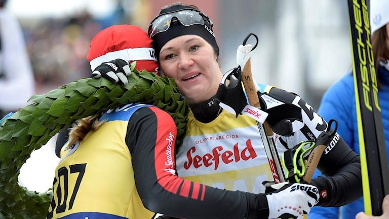 Britta Johansson Norgren efter målgången i Vasaloppet 2016.