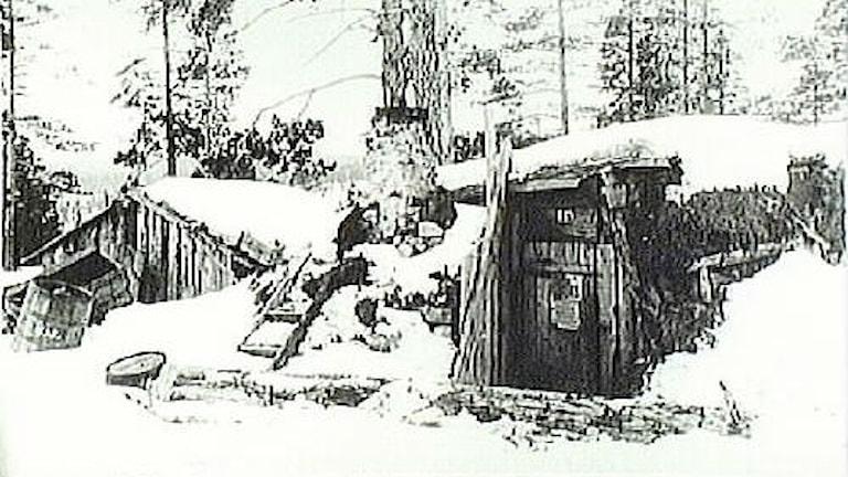 Gruvarbetarbostäder vid Malmberget. Hus av fläsklådor 1897.