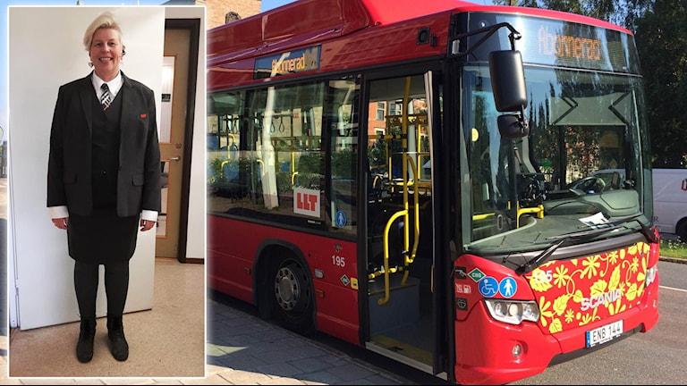 Busschauffören Anette Glad i sin nya uniform och en LLT-buss. Montage: Sveriges Radio.