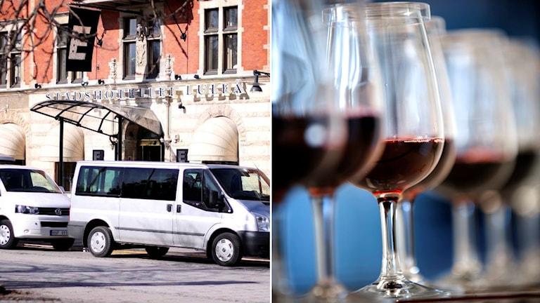 Stadshotellet i Luleå och vinglas fyllda med rödvin.