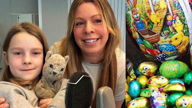 Liv och Christina Gabrielsson och ett påskägg med godis.