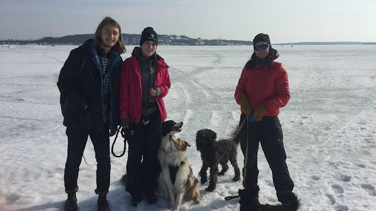 Carina Larsson och Josefine Larsson är ute med sina hundar.