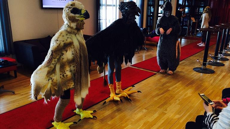 Flera skådespelare utklädda till fåglar i Norrbottensteaterns foajé.