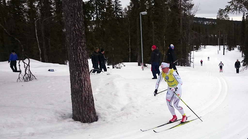 Charlotte Kalla under sitt segerlopp i skid-SM 30 km.