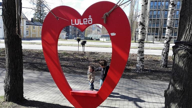 Hjärtat som blivit en populär plats för bilder i Luleå.