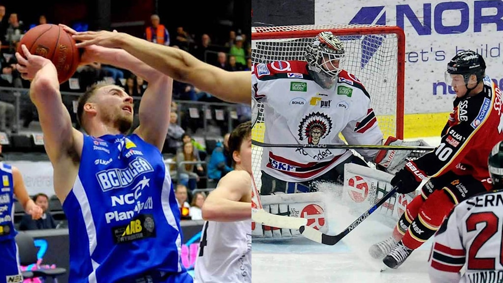 BC Luleås Christopher Ryan och Luleå Hockeys Toni Rajala.