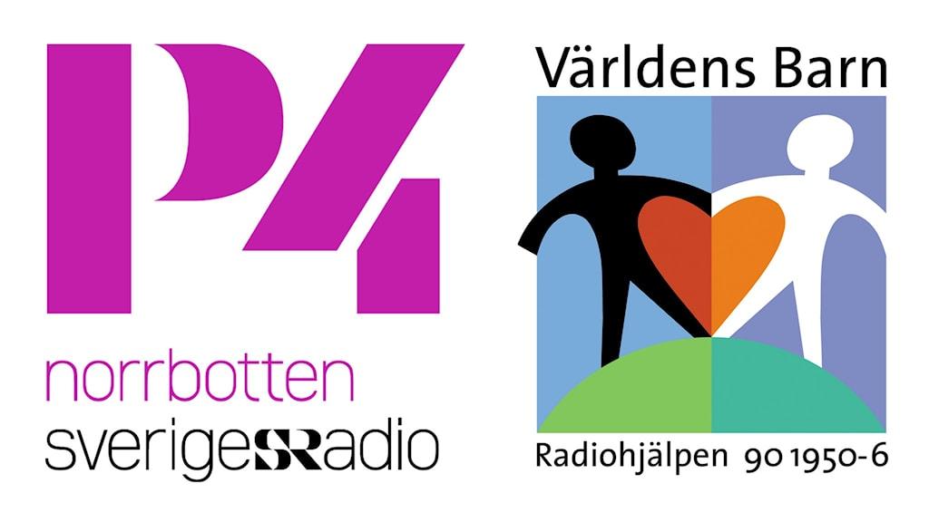 P4 Norrbottens och Världens barn-kampanjens logotyper.