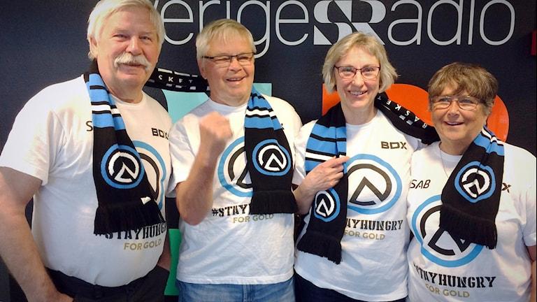 Luleå baskets supportrar Kent Näslund, Göran Andersson, Kerstin Nyman och Evy Andersson.