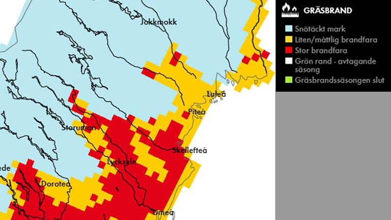 Karta över risk för gräsbränder i Norrbotten 6 maj 2016.