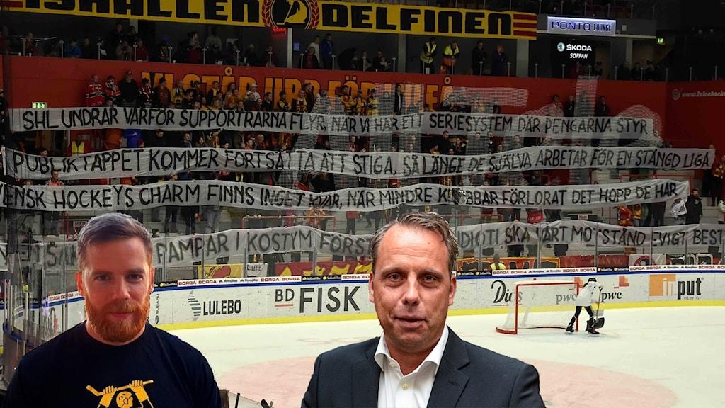Luleåfans ordförande Stefan Baudin och Jörgen Lindgren, vd i SHL, framför en kritisk banderoll mot SHL förra säsongen.