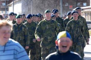 Jägarbataljonen gick i täten i Arvidsjaur. Foto: Kent Norberg.