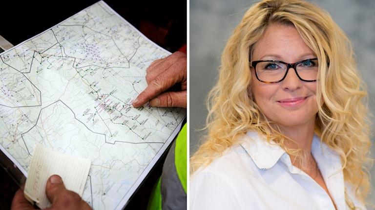 Karta och Sofia Stjernlöf på Lantmäteriet.