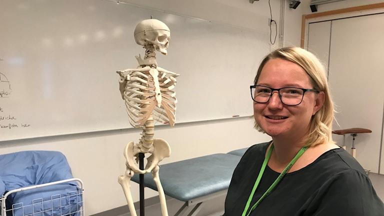 Mascha Pauelsen, doktorand i fysioterapi, i rörelselabbet på Luleå tekniska universitet