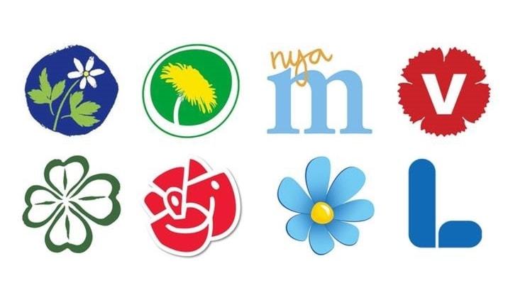 Riksdagspartiernas logotyper