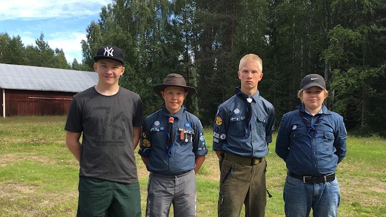 Elian Hagbo, Daniel Alm, Elias Alm och Hjalmar Salander ska alla till Jamboreelägret i helgen.