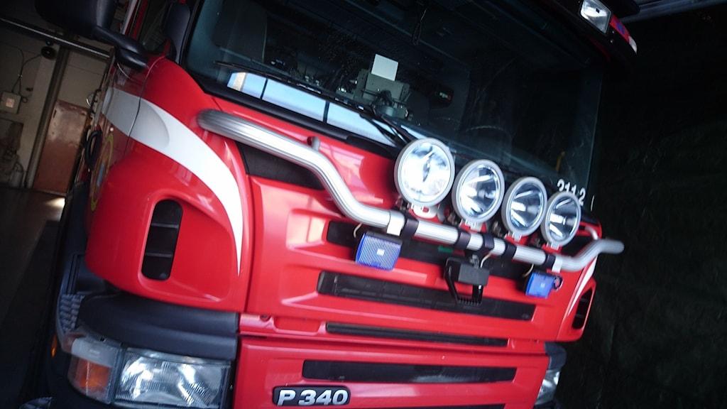 Fronten på en brandbil.