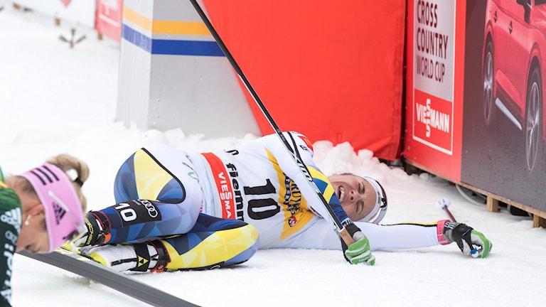 Anna Haag efter monsterbacken i Val di Fiemme.