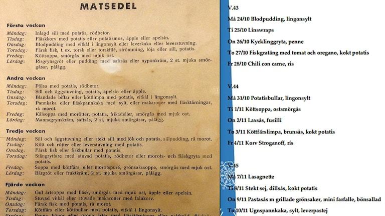 Matsedlar, jämförelse mellan 1950-tal och dagens skolmat.