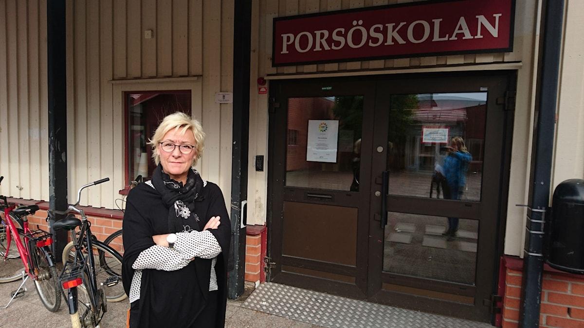 Annika Häggstål, rektor på Porsöskolan i Luleå. Foto: Beatrice Karlsson/Sveriges Radio.