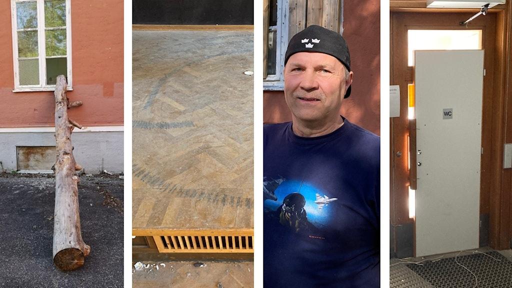 Vandalisering på gamla sanatoriet i Sandträsk. Allan Wonkavaara är guide.