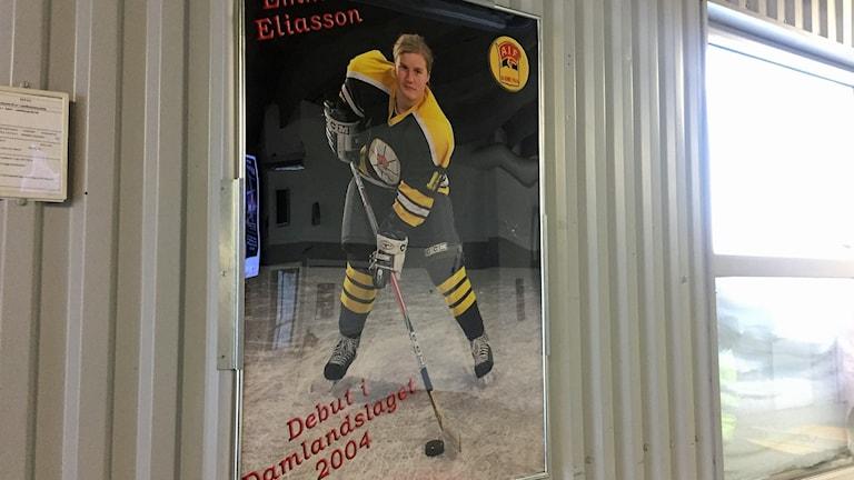 Bilden på Emma Eliasson har hängts upp i Lombia ishall igen.