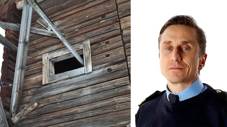 Ladugården i Kalamark och Olle Andersson, polischef.