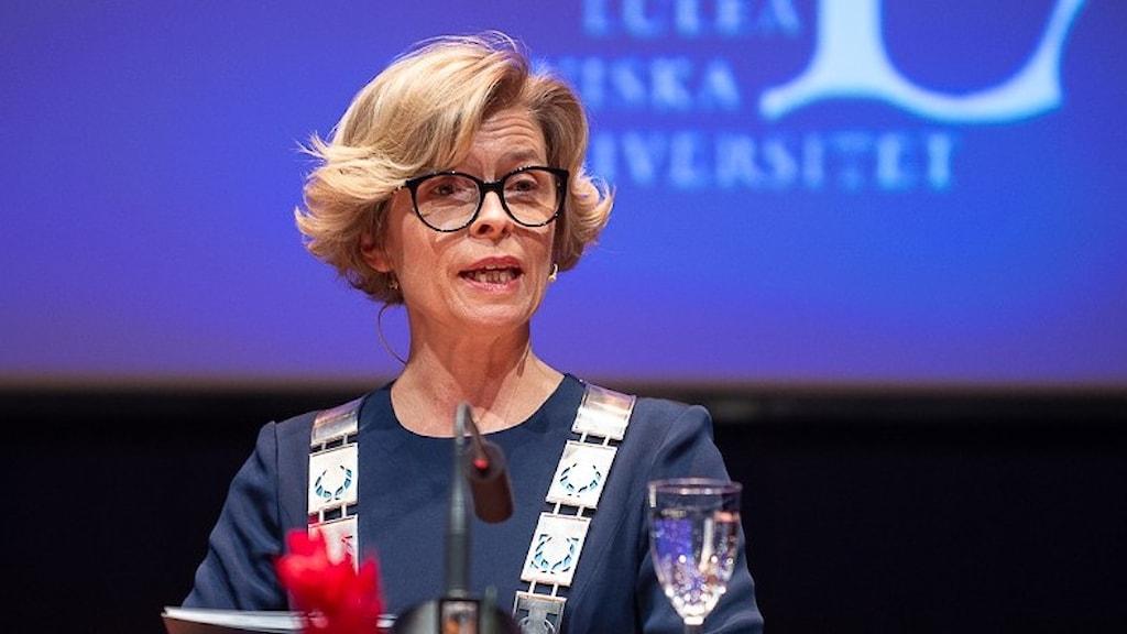 Luleå tekniska universitets rektor Birgitta Bergvall-Kåreborn under sitt tal på akademisk högtid 2019.