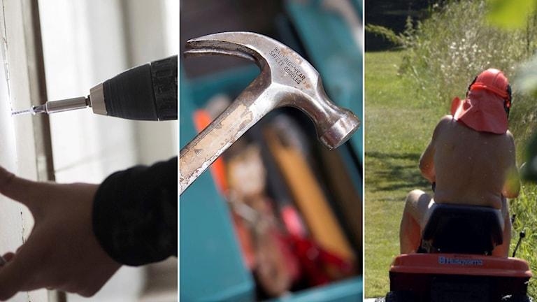 Skruvdragare, hammare, gräsklippare
